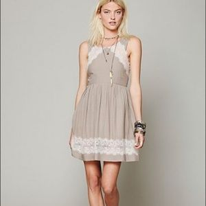 Free People Taupe A Line Dress with Lace Boho